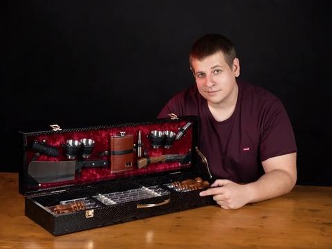 Кизлярский набор шампуров в коробке кожзам №6