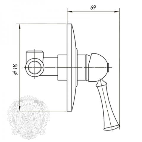 Смеситель для душа встроенный Migliore Dallas ML.DLS-6830 схема