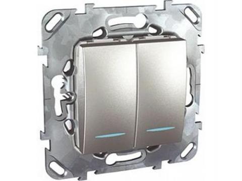 Выключатель двухклавишный с подсветкой. Цвет Алюминий. Schneider electric Unica Top. MGU5.0101.30NZD