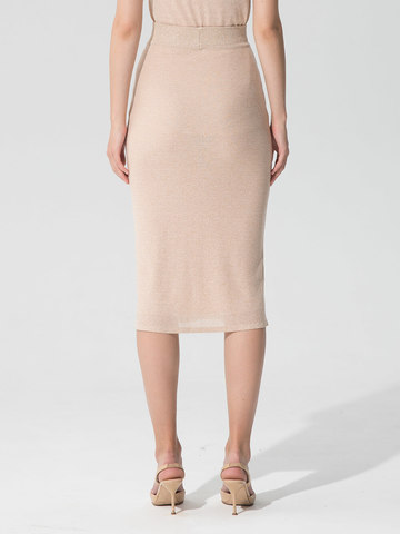 Женская двухслойная юбка-карандаш с люрексом золотого цвета - фото 3