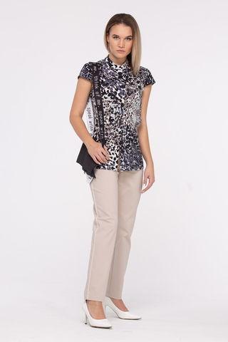 Фото летняя полуприлегающая блуза с анималистичным принтом - Блуза Г715-141 (1)
