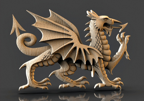 Силиконовый молд № 2415  дракон Правый