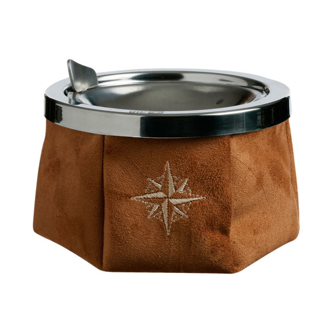 ASHTRAY WITH LID, SIMIL SUEDE CAMEL, WINDPROOF