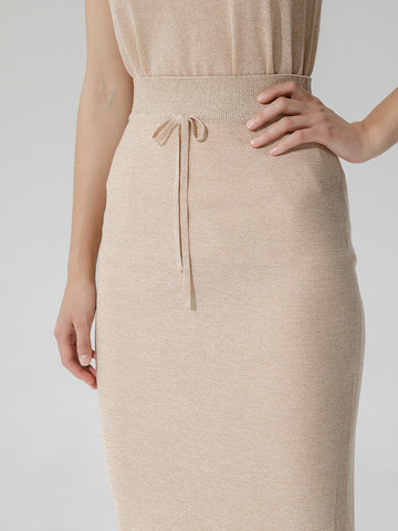 Женская двухслойная юбка-карандаш с люрексом золотого цвета - фото 5