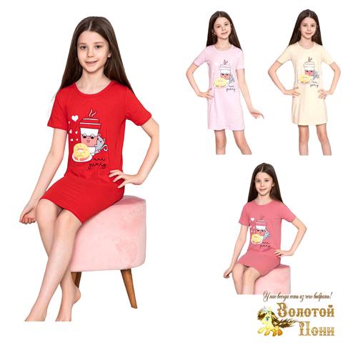 Сорочка хлопок девочке (6-14) 210318-М1156