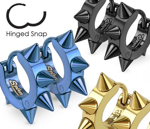 SSE-025-B Мужские серьги кольца с шипами синего цвета
