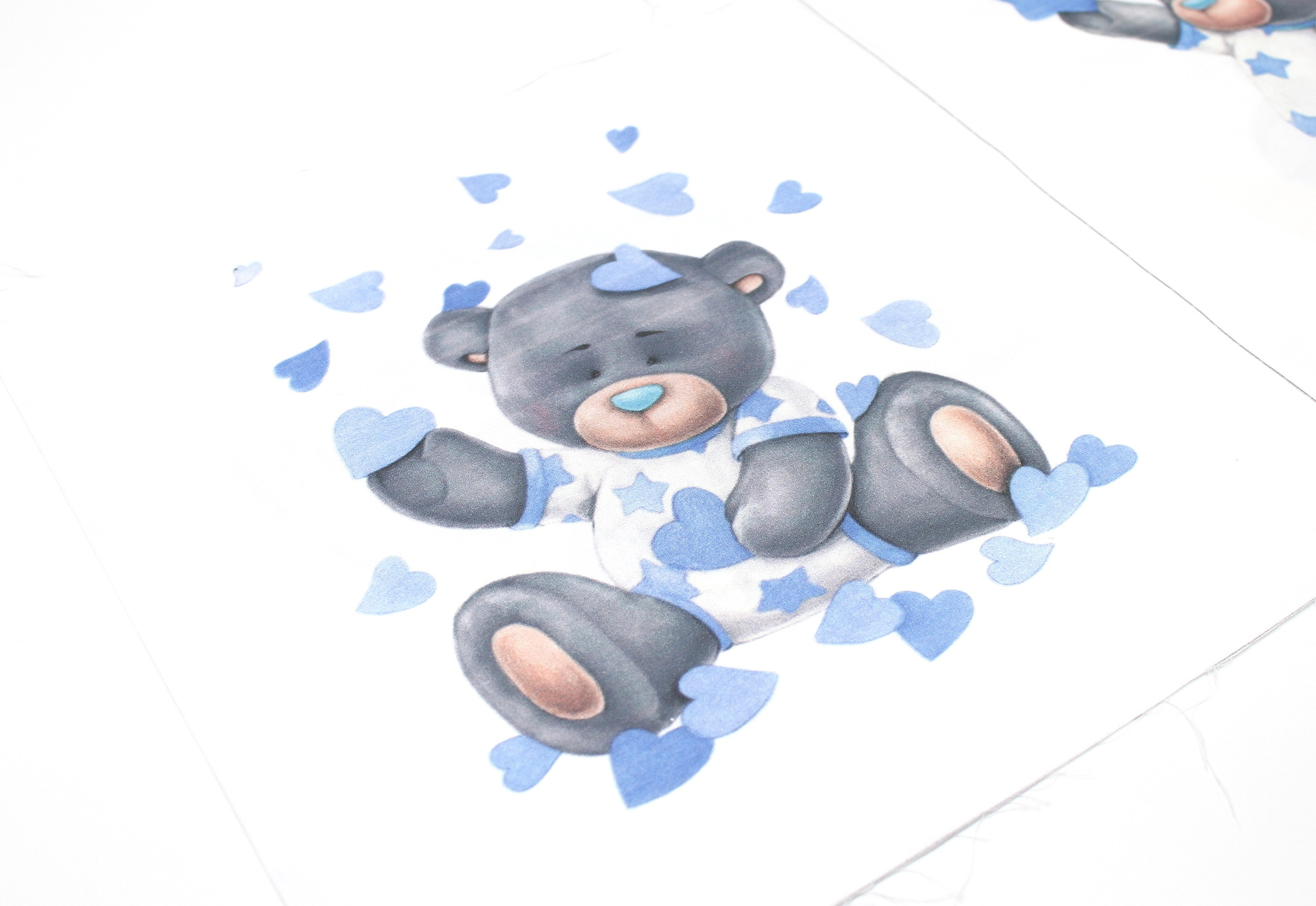 Панель(купон) мишки синие,2-35*35 см, 4 шт.