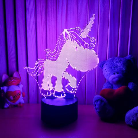 3D лампа Единорожка