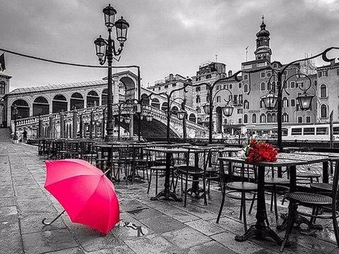 Картина раскраска по номерам 30x40 Розовый зонт в черно-белом городе