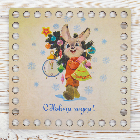 """Квадратная заготовка с рисунком """"Новогодний зайка"""" 15см из фанеры"""