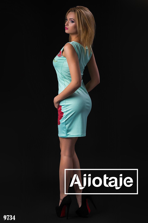 Платье миди цвета мята с накатом