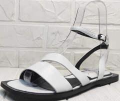 Квадратные босоножки шлепанцы женские кожаные Brocoli H1886-9165-S873 White.