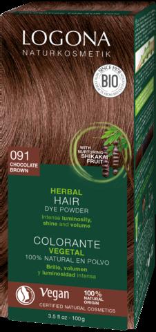 LOGONA растительная краска для волос 091 ШОКОЛАДНО-КОРИЧНЕВЫЙ, 100 гр