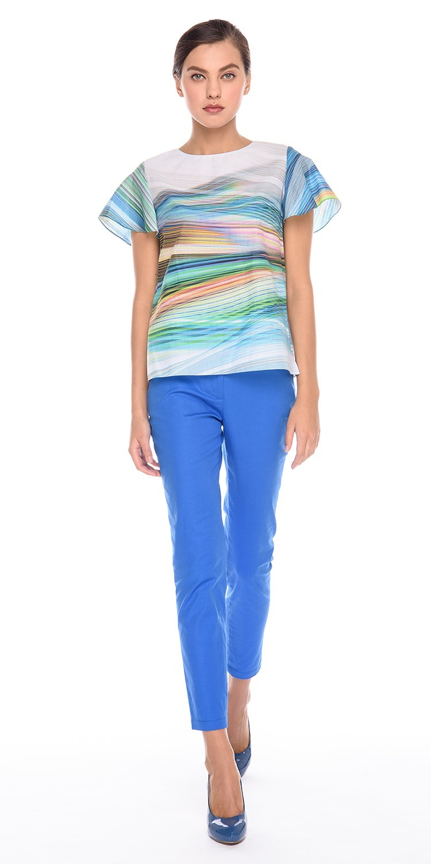 Блуза Г597-325 - Хлопковая блуза прямого силуэта.  Застежка на пуговицы на спинке. Легкая и комфортная, эта модель станет  прекрасным дополнением  летнего образа.