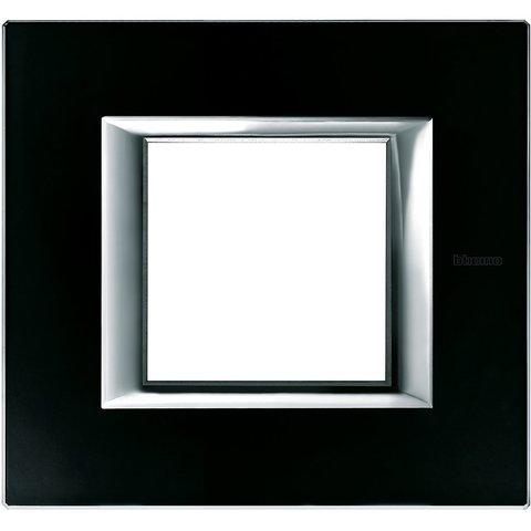 Рамка 1 пост, прямоугольная форма. СТЕКЛО. Цвет Чёрное стекло. Немецкий/Итальянский стандарт, 2 модуля. Bticino AXOLUTE. HA4802VNN