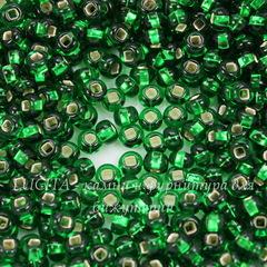 57060 Бисер 6/0 Preciosa прозрачный темно-зеленый с серебряным квадратным центром