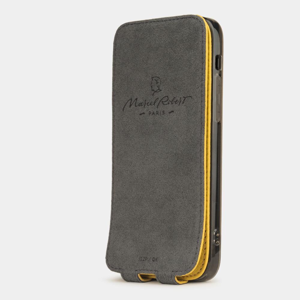 Чехол для iPhone 12/12Pro из натуральной кожи теленка, желтого цвета