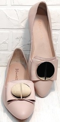 Лодочки балетки туфли классика женские Wollen G192-878-322 Light Pink.