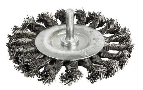 Кордщетка для дрели радиальная витая ПРАКТИКА 100 мм, хвост 6 мм (242-885)