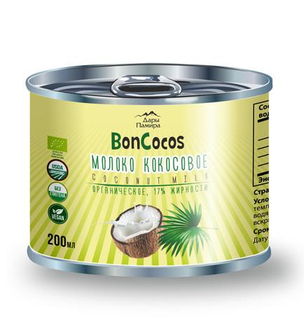 Молоко кокосовое BONCOCOS, органическое, жирность 17%, ж/б, 200 мл