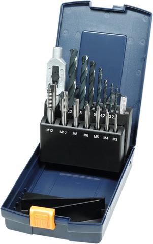 Метчики для сквозных отверстий короткие + спир. сверла для отверстий под резьбу + вороток M3-12