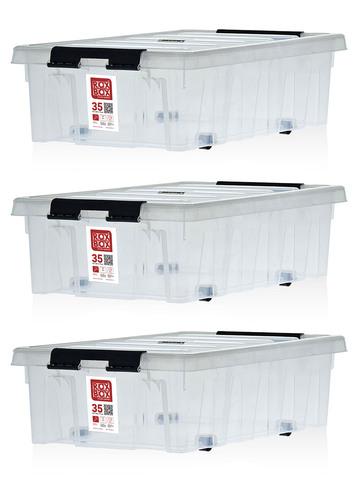 Ящик для хранения RoxBox с крышкой на роликах прозрачный 35 литров, набор из 3 штук