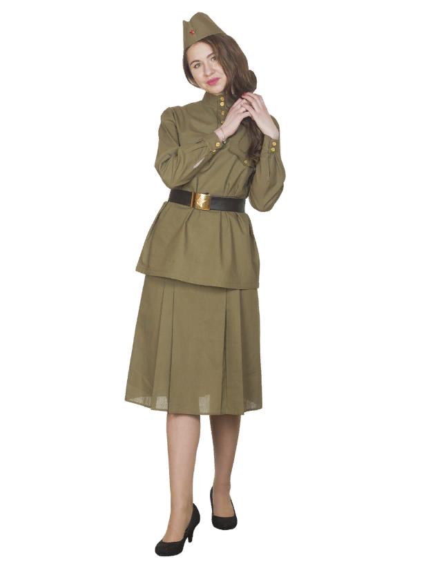 Взрослый женский военный костюм Солдатка (хлопок)