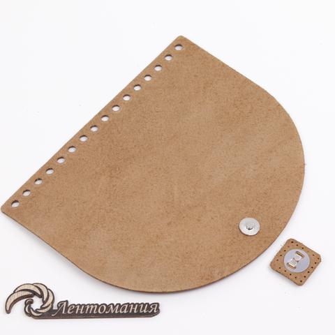 """Клапан для сумочки кожаный с магнитной застежкой """"Коньяк"""" 19*16 см"""