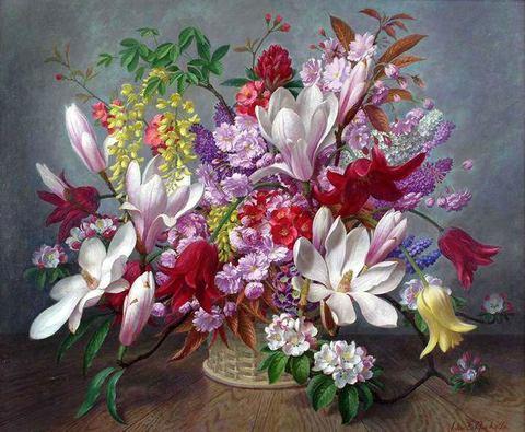 Картина раскраска по номерам 40x50 Цветы в корзине (арт. ТС3353)