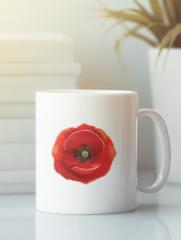 Кружка с изображением Цветы (Маки) белая 001
