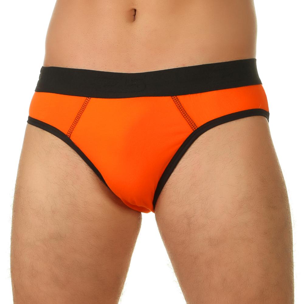 Мужские трусы брифы оранжевые с черной окантовкой E5 Underwear Cotton
