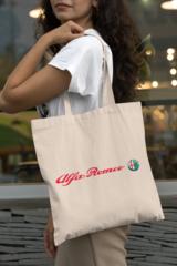 Женская сумка-шоппер с принтом Альфа Ромео (Alfa Romeo) бежевая 002