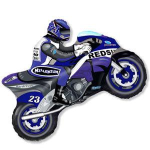 Фольгированный шар Мотоциклист синий 68см X 80см