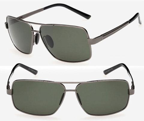 Очки с металлической оправой с серо-зелеными поляризованными линзами