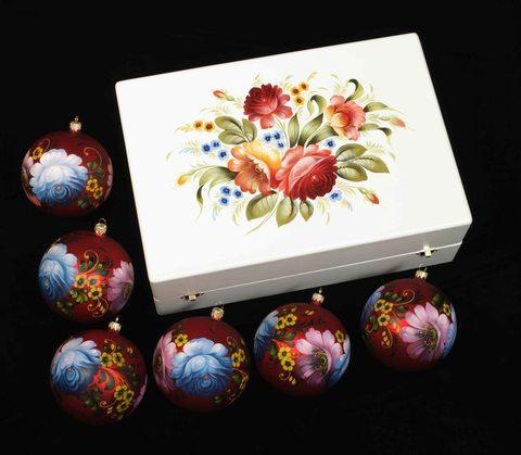 Набор из 6 елочных шаров в шкатулке SET04D-667785781