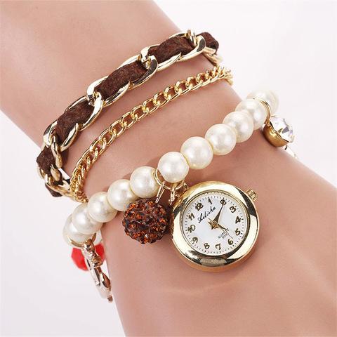 Купить браслет-часы в морском стиле - Магазин тельняшек.руЧасы-браслет с жемчугом (темно-коричневый) в Магазине тельняшек