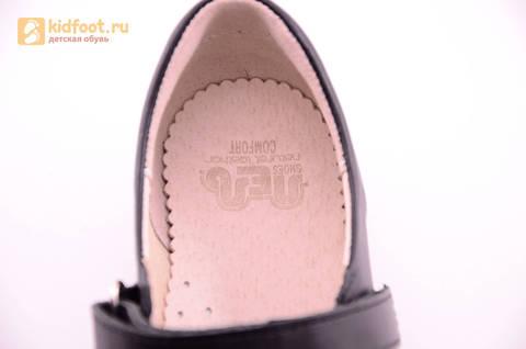 Туфли для девочек из натуральной кожи на липучке Лель (LEL), цвет черный. Изображение 18 из 18.