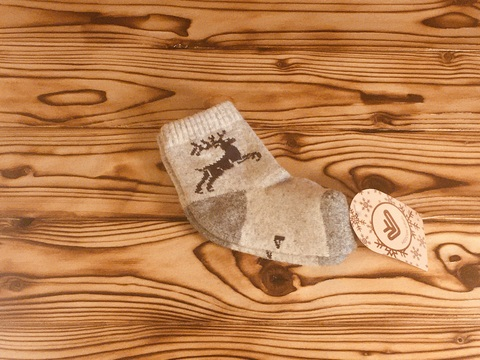 Носки детские из шерсти яка (серые с оленем) р.4 фото2