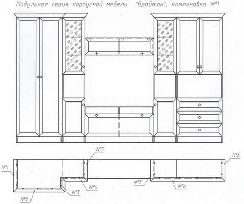 Комплект декоративных элементов Брайтон №1/К1 (01,03,05,06,04,02) Ижмебель ясень асахи