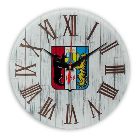 Печать под стеклом Деревянные настенные часы Хабаровск 07