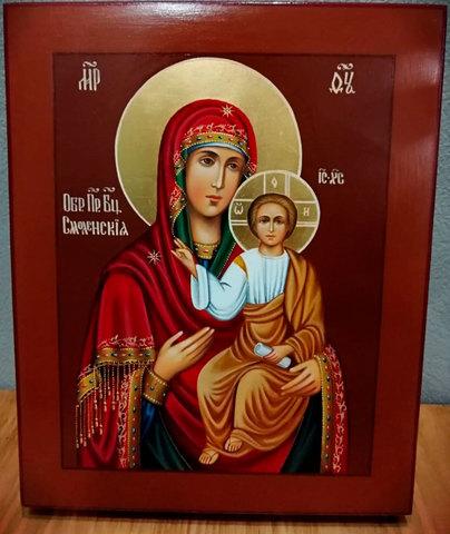 Рукописная икона Пресвятой Богородицы Смоленская 21х17см