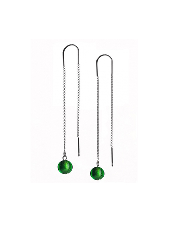 Серьги из муранского стекла на цепочке с бусиной Long Ca'D'oro Emerald 030A