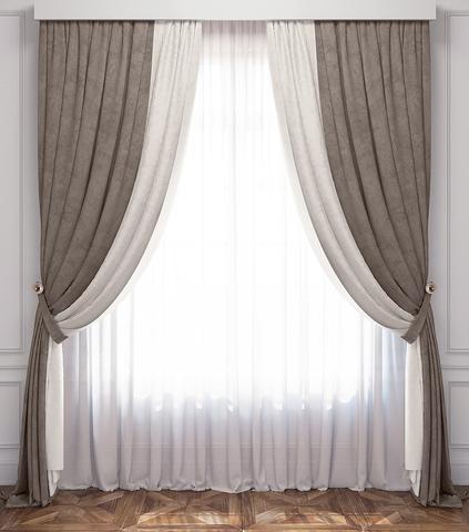 Комплект штор и тюль Ламанш бело-серый