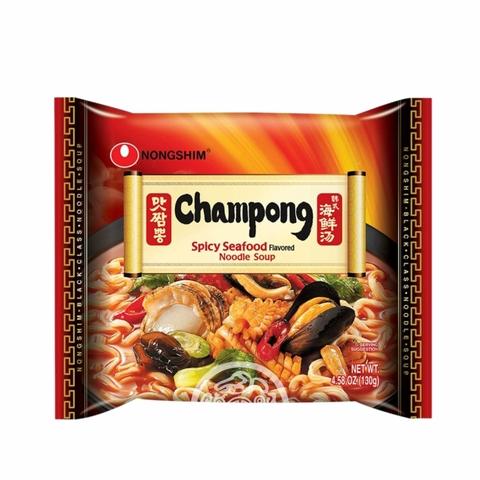 Лапша б/п Чампонг со вкусом морепродуктов средне острая сушеная 130г Южная Корея