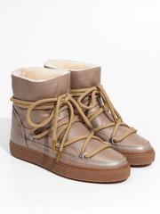Высокие комбинированные кеды INUIKII 70202-59 Sneaker Leather Beige на меху