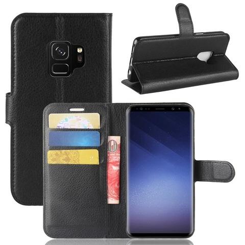 Чехол книжка черный цвет на Samsung Galaxy S9, с отсеком для карт и подставкой от Caseport