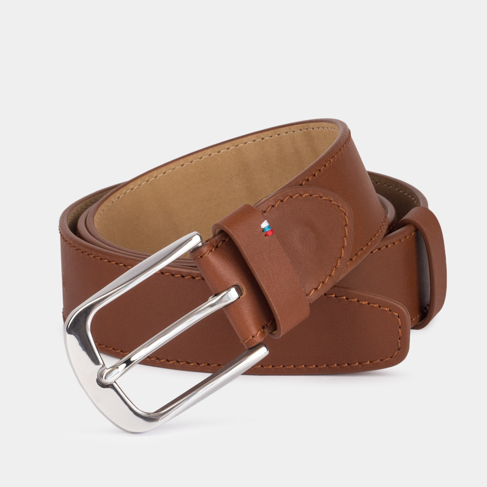 Ремень мужской кожаный из теленка коричневого цвета для джинсов ширина 40мм пряжка Сталь
