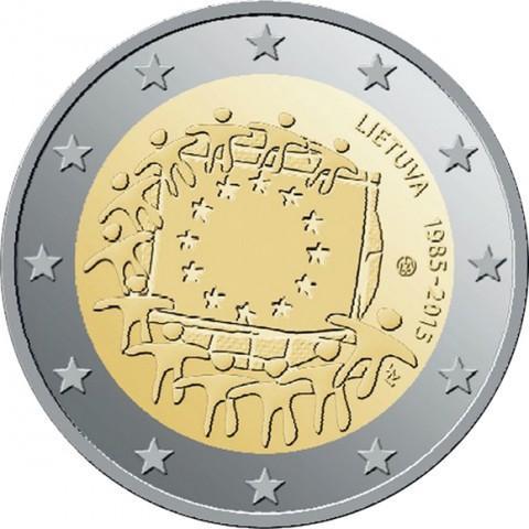 2 евро 2015 год Литва - 30 лет флагу Европейского союза