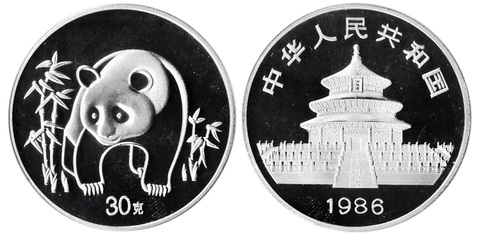 Жетон Китайская панда. Китай. 1986 год. PROOF