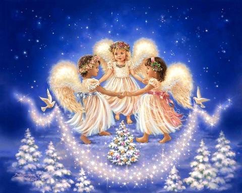 Картина раскраска по номерам 30x40 Три новогодних ангела